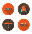 Flat furniture icons set vector
