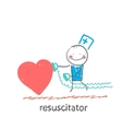 Resuscitator hurry to the heart is sick vector