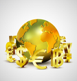 World currency symbols moving around golden world vector