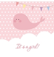 Baby girl shower card with cute whale and flags vector