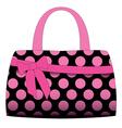 Black handbag in pink polka dots vector