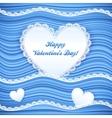 Blue wavy valentines day background vector