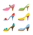 Set of colorful high heels shoes vector