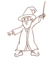 A simple drawing of a wizard vector