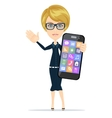 Businesswoman is holding in his hand smartphone vector
