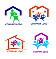 Happy family in a new house logo vector