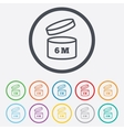 After opening use 6 months sign icon vector