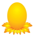 Easter day golden egg cartoon character with feath vector