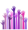 Violet colorful up hands vector
