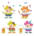 Cartoon circus clowns set vector