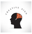 Creative silhouette head with opening the brain by vector