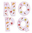 Sheet alphabet letter n o p q vector