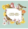 Spring floral retro card with bird sparrows vector