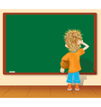 Cartoon little boy and blackboard vector