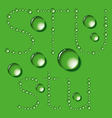 Water drop letters on green new 07 vector