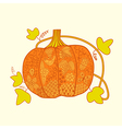 Ornated pumpkin stylized halloween card vector