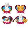 Pet set with cat bunny and dog labels vector