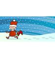 Boy santa with sock greeting card vector