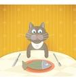 Cartoon cat at restaurant having a lunch vector