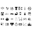 Fitness sport and health silhouette icons set vector