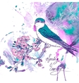 Spring cherry background with birds vector