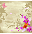 Floral watercolor background with cherries vector