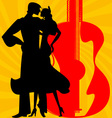 Silhouette of flamenco dancers vector