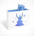 Festive paper bag with fir-tree snowflakes and vector