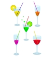 Set of glasses with a drink vector