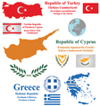 Cyprus turkey and greece vector