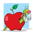 Cartoon worm in apple with background vector