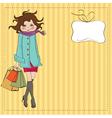Beautiful young woman at shopping vector