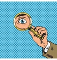 Look through a magnifying glass searching eyes pop vector