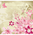 Floral watercolor background with lilies vector