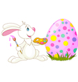 Easter bunny painting an egg vector