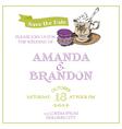 Wedding vintage invitation card - macaroon and tea vector