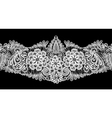 Seamless stripe - floral lace ornament - white on vector