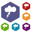 Storm rhombus icons vector