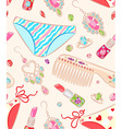 Seamless pattern with womens jewelry and objects vector