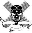 Skull and bullet vintage emblem vector