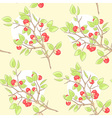 Seamless yellow pattern with red berry and green vector