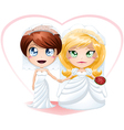 Lesbian brides in dresses getting married vector