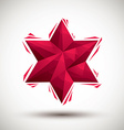 Red six angle star geometric icon made in 3d vector