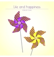 Colorful violet and yellow pinwheels vector