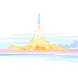 Spaceship launch landscape vector