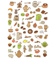 Set of tea and coffee doodle elements vector