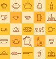 Set of icons of different types of cookware vector