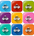 Buttons with police cars vector