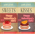 Vintage retro two cards to the valentines day vector