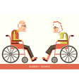 Elderly peoplepensioners in a wheelchairs vector